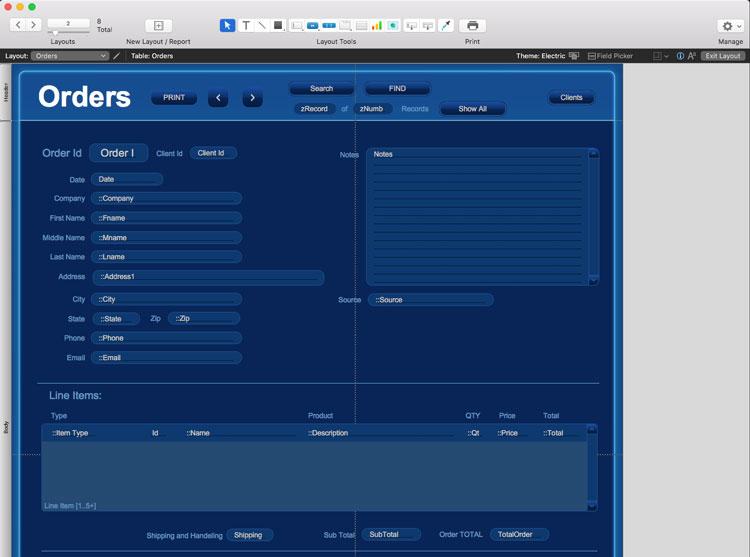 FileMaker edit layout mode