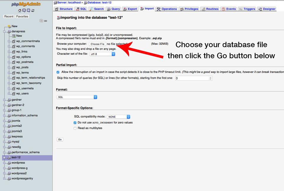 import the wordpress data