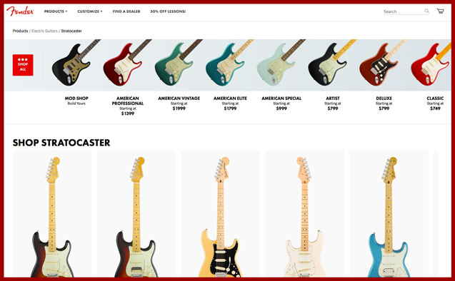 Want a Fender Stratocaster? There are lots to choose from.